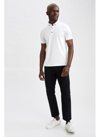 DeFacto Slim Fit Polo Yaka Basic T-shirt Beyaz